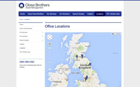 Screenshot of Locations Page closebrothersam.com - Office Locations | Close Brothers Asset Management - captured Jan. 22, 2016
