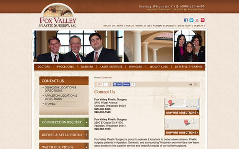 Screenshot of Contact Page Maps & Directions Page fvpsurgery.com - Contact Fox Valley Plastic Surgery Serving Milwaukee, Green Bay, and Fox Cities - captured Oct. 23, 2014