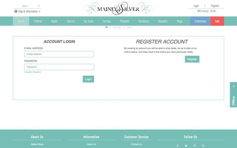 Screenshot of Login Page mainlysilver.co.uk - Login to your personal customer's account at MainlySilver - captured Jan. 27, 2018