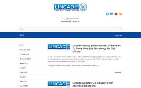 Screenshot of Press Page lincad.co.uk - News   UK Power Management Systems   UK Power Supply System     Lincad - captured Jan. 30, 2016
