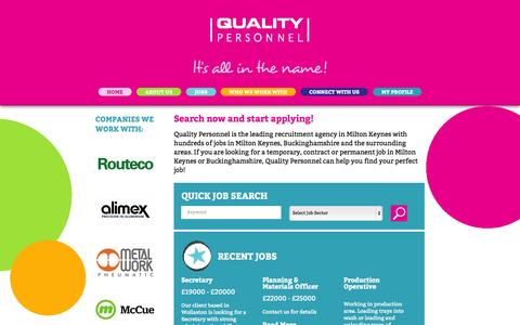 Screenshot of Home Page qualitypersonnel.co.uk - Search now and start applying! | Quality Personnel - captured Oct. 2, 2014