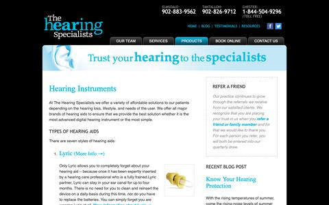 Screenshot of Products Page hearingspecialists.ca - Hearing Instruments - The Hearing Specialists - captured June 17, 2019