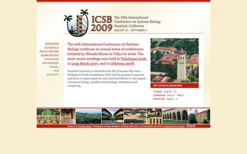 Screenshot of Home Page icsb-2009.org - ICSB 2009 | The 10th International Conference on Systems Biology - captured Feb. 8, 2017