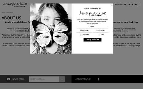 Screenshot of About Page deuxpardeux.com - Deux par Deux Official Site - Children's Designer Clothing - captured June 7, 2019