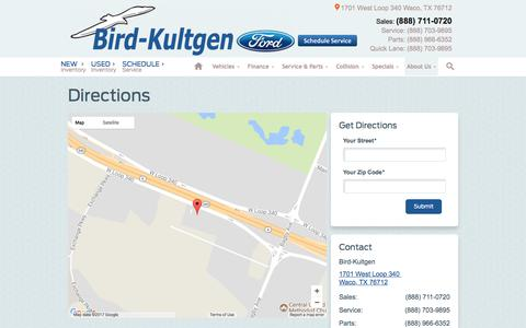 Screenshot of Maps & Directions Page bkford.com - Bird-Kultgen | New Ford dealership in Waco, TX 76712 - captured Oct. 10, 2017