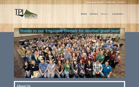 Screenshot of About Page tpihospitality.com - TPI Hospitality - 100% Employee Owned - captured Sept. 21, 2018
