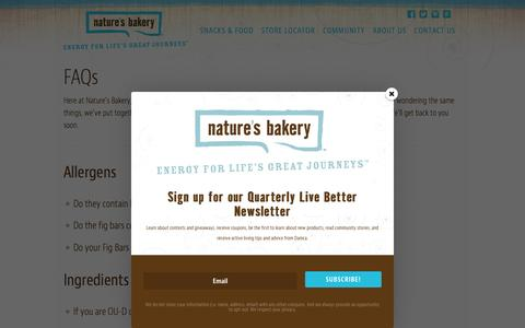 Screenshot of FAQ Page naturesbakery.com - FAQs | Nature's Bakery - captured Feb. 18, 2016