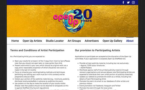 Screenshot of Terms Page openupsheffield.co.uk - Open Up Sheffield Terms & Conditions – Open Up Sheffield & South Yorkshire Artists Studios - captured Sept. 21, 2018