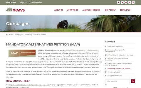 Screenshot of Maps & Directions Page neavs.org - Mandatory Alternatives Petition (MAP) | Campaigns - captured Oct. 19, 2018