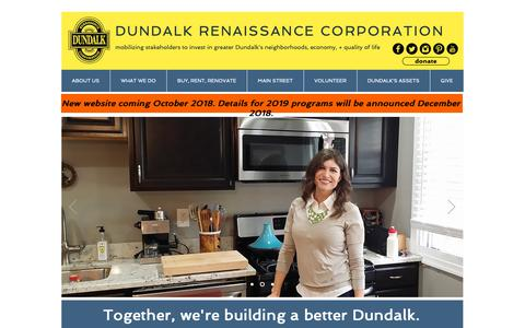 Screenshot of Home Page dundalkusa.org - Dundalk Renaissance Corporation - captured Oct. 9, 2018