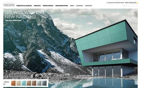 Screenshot of Home Page trespa.com - Trespa - captured Oct. 7, 2015