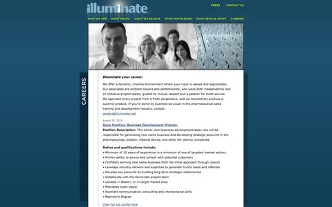 Screenshot of Jobs Page illuminate.net - Illuminate: A Full Service Training and Development Agency | Careers - captured Sept. 30, 2014