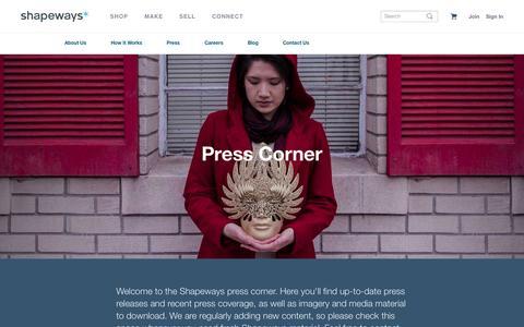 Screenshot of Press Page shapeways.com - Press Corner - Shapeways 3D Printing - Shapeways - captured Oct. 1, 2015