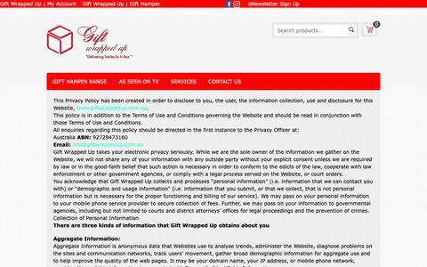 Screenshot of Privacy Page giftwrappedup.com.au - Privacy Policy - - captured Nov. 4, 2018