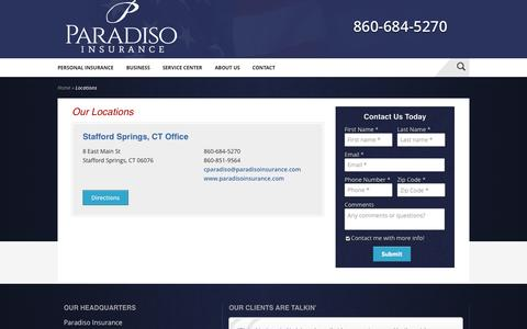 Screenshot of Contact Page Locations Page paradisoinsurance.com - Locations | Paradiso Insurance - captured Oct. 22, 2014