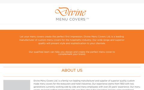 Screenshot of About Page divinemenucovers.com - Divine Menu Covers - captured Dec. 9, 2018