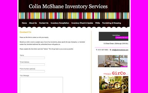 Screenshot of Contact Page colinmcshane.com - Contact Us - Colin McShane Inventory Services - captured Oct. 1, 2014