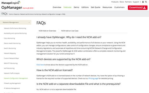 OpManager NCCM FAQs | network change and configuration management :: OpManager NCM Add-on