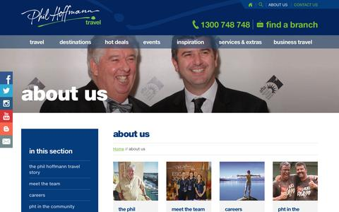 Screenshot of About Page pht.com.au - about us | Phil Hoffmann Travel - captured Nov. 5, 2016