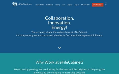Screenshot of Jobs Page efilecabinet.com - Careers   eFileCabinet - captured March 6, 2018
