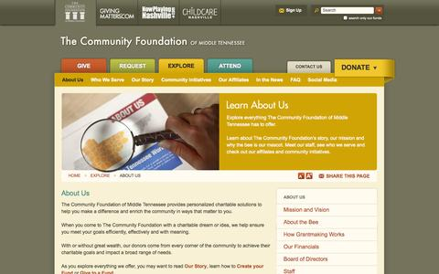 Screenshot of About Page cfmt.org - Charitable Gifts - Community Foundation of Middle TN - Nashville, TN - captured Oct. 9, 2014