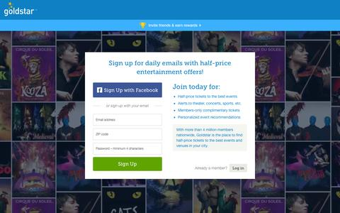 Screenshot of Home Page goldstar.com - Tickets for Theater, Concerts, Sports, Comedy and Performing Arts | Goldstar - captured Sept. 18, 2014