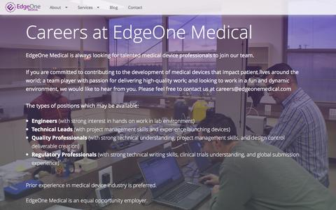 Screenshot of Jobs Page edgeonemedical.com - EdgeOne Medical | Careers - captured Dec. 7, 2015