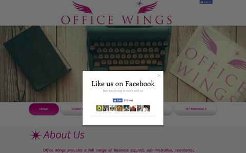 Screenshot of Home Page officewings.co.uk - Virtual PA - captured Dec. 18, 2016
