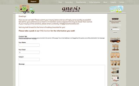 Screenshot of Contact Page gnosischocolate.com - Raw Chocolate by Gnosis Chocolate - Contact Us - captured Sept. 19, 2014