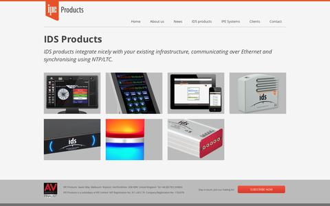 Screenshot of Products Page ipe-products.com - IPE Products - IDS product range - captured July 27, 2016