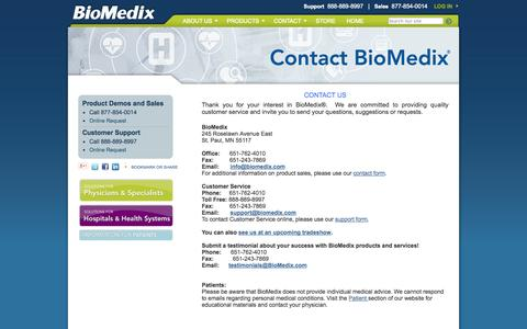 Screenshot of Contact Page biomedix.com - BioMedix - Contact Us - captured Sept. 13, 2014