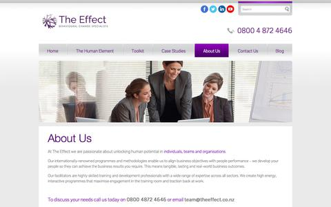 Screenshot of About Page theeffect.co.nz - About The Effect   Professional Business Coaching & Development Hamilton - captured Nov. 16, 2017