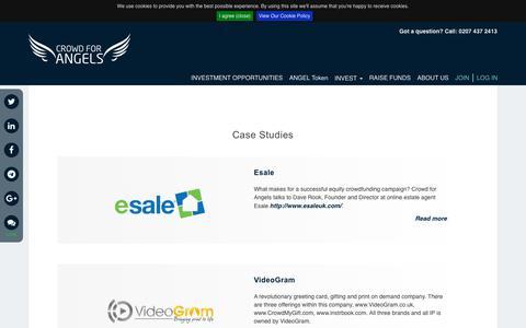 Screenshot of Case Studies Page crowdforangels.com - Case Studies | Crowd for Angels - captured July 23, 2018