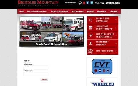 Screenshot of Login Page firetruckmall.com - Brindlee Mountain Fire Apparatus | Used Fire Trucks for Sale - captured Oct. 5, 2014