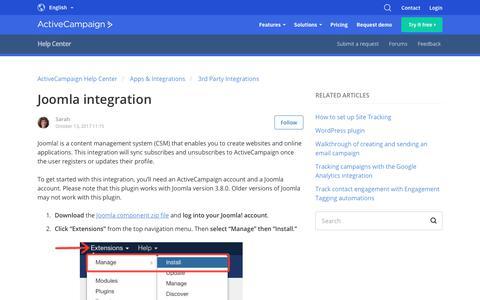 Screenshot of Support Page activecampaign.com - Joomla integration – ActiveCampaign Help Center - captured June 18, 2019