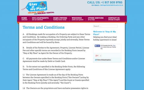Screenshot of Terms Page stayatmyplace.co.il - Terms and Conditions - Stay At My Place - captured Oct. 9, 2014
