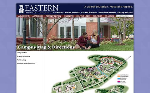 Screenshot of Maps & Directions Page easternct.edu - Campus Map & Directions | Eastern Connecticut State University - captured Sept. 3, 2016