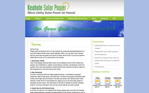 Screenshot of Terms Page keaholesolarpower.com - Keahole Solar Power » Terms - captured Sept. 16, 2014