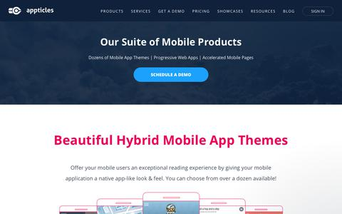 Screenshot of Products Page appticles.com - Products - Hybrid Mobile Apps, Progressive Web Apps, Accelerated Mobile Pages | Appticles - captured Nov. 1, 2017
