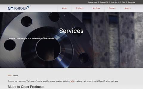 Screenshot of Services Page gmigroup.com - Call-Out Services and Made-To-Order | GMI Group - captured Feb. 1, 2016