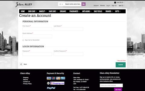 Screenshot of Signup Page glamalley.com - Create New Customer Account - captured Sept. 30, 2014