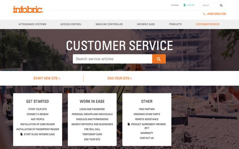 Screenshot of Support Page infobric.co.uk - Customer service - Infobric UK - captured Jan. 13, 2018