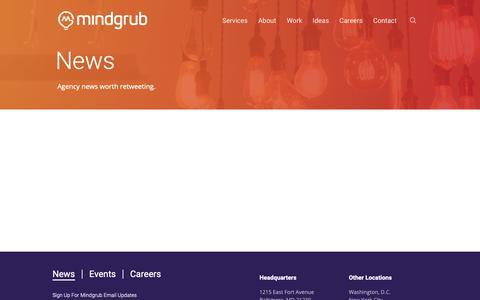 Screenshot of Press Page mindgrub.com - News | Mindgrub - captured June 1, 2019