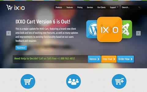 Screenshot of Home Page ixxocart.com - IXXO Shopping Cart Software - Multi Vendor Cart - captured Jan. 14, 2016