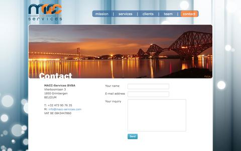 Screenshot of Contact Page macc-services.com - MACC Services :: Contact Us - captured Sept. 30, 2014