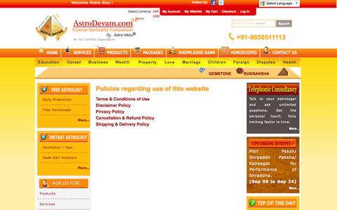Screenshot of Terms Page astrodevam.com - AstroDevam-  Free Online Astrology, Horoscope, Numerology, Vastu Expert - captured Sept. 23, 2014