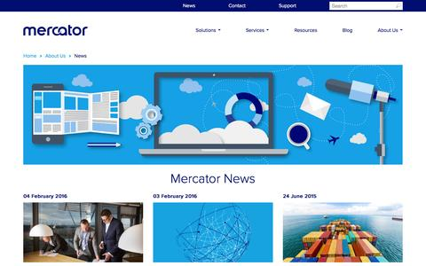 Screenshot of Press Page mercator.com - News from the aviation solution leader - captured Feb. 4, 2016