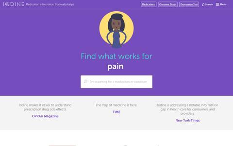 Screenshot of Home Page iodine.com - Drug information, side effects, and reviews - Iodine.com - captured Feb. 24, 2016