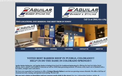 Screenshot of Home Page aguilarbarberstyling.com - Barber & Beauty Services, Flat Tops, Fades, Shaves & More - captured Oct. 4, 2014
