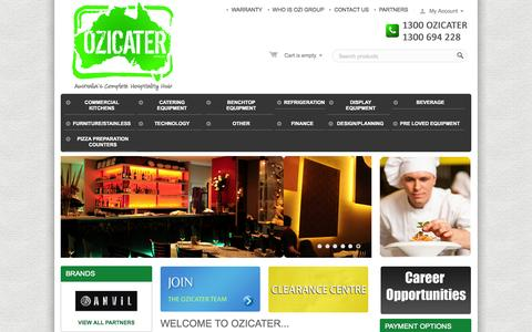 Screenshot of Home Page ozicater.com.au - For All Your Hospitality Design, Equipment & Fit Out Needs. - captured Oct. 8, 2014